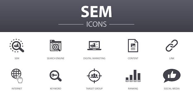 Sem eenvoudig concept iconen set. bevat pictogrammen zoals zoekmachine, digitale marketing, inhoud, internet en meer, kan worden gebruikt voor web, logo, ui/ux