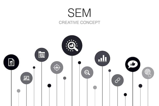 Sem infographic 10 stappen sjabloon. zoekmachine, digitale marketing, inhoud, eenvoudige internetpictogrammen