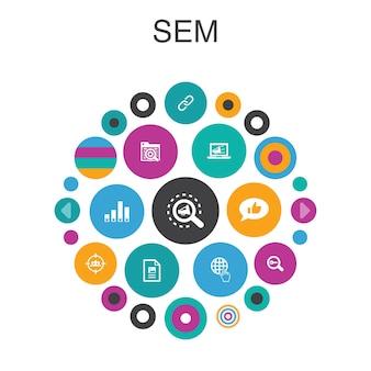 Sem infographic cirkel concept. slimme ui-elementen zoekmachine, digitale marketing, inhoud, internet