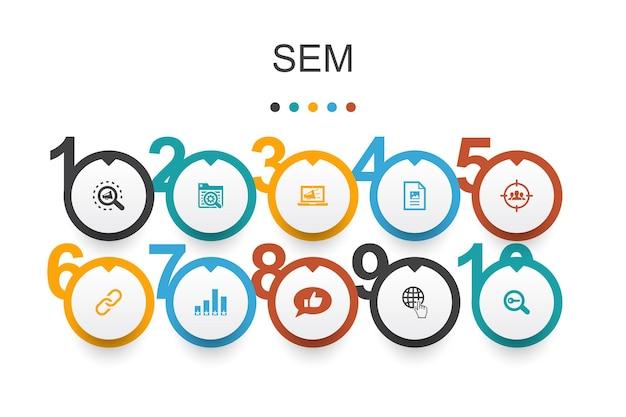 Sem infographic ontwerpsjabloon. zoekmachine, digitale marketing, inhoud, eenvoudige internetpictogrammen