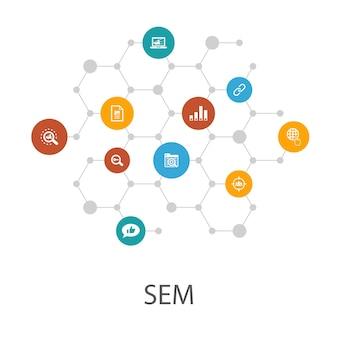 Sem-presentatiesjabloon, omslaglay-out en infographics. zoekmachine, digitale marketing, inhoud, internetpictogrammen