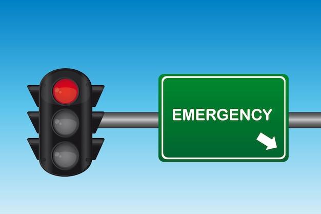Semafoor met noodgevallen tekst over groen teken vector illustratie