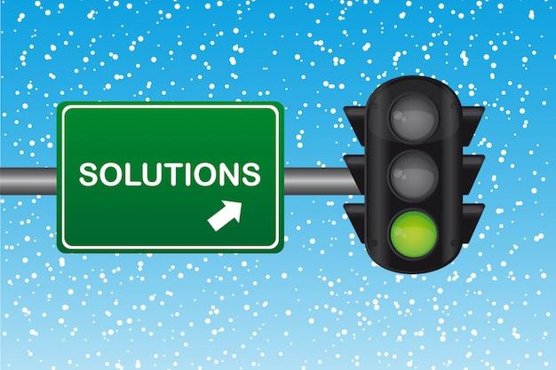Semafoor met oplossingen tekst over groen teken winter vector