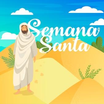 Semana santa met jezus en woestijn