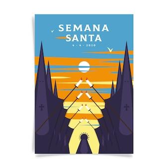 Semana santa poster sjabloon geïllustreerd