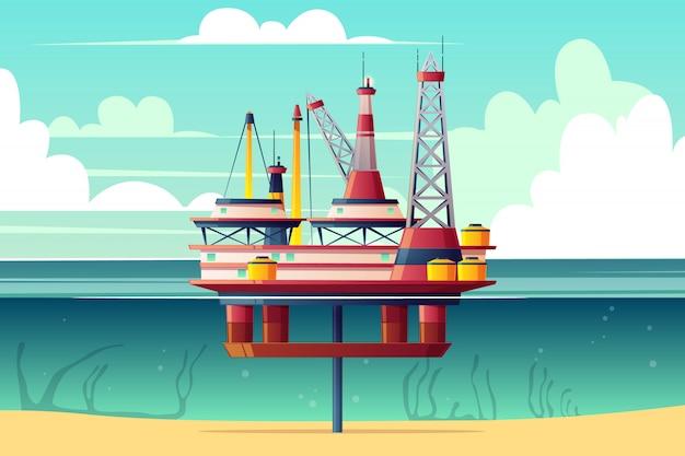 Semi-afzinkbaar olieplatform, zee-gebaseerd booreiland doorsnede cartoon