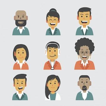 Semi-formele platte avatar set