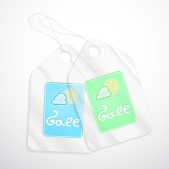 Semi-transparante tags voor verkoop in de lente op wit.