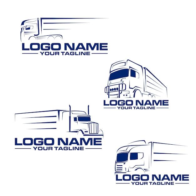 Semi vrachtwagen lijn logo