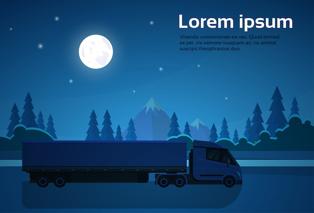 Semi-vrachtwagen met aanhangwagen rijden over natuurlijke landschap bij nacht banner met kopie ruimte