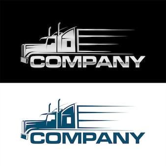 Semi vrachtwagen zijaanzicht logo