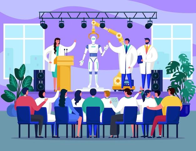 Seminar met robottechnologie, vectorillustratie, platte man vrouw mensen karakter bij robotpresentatie, conferentie met wetenschapper ontmoeten