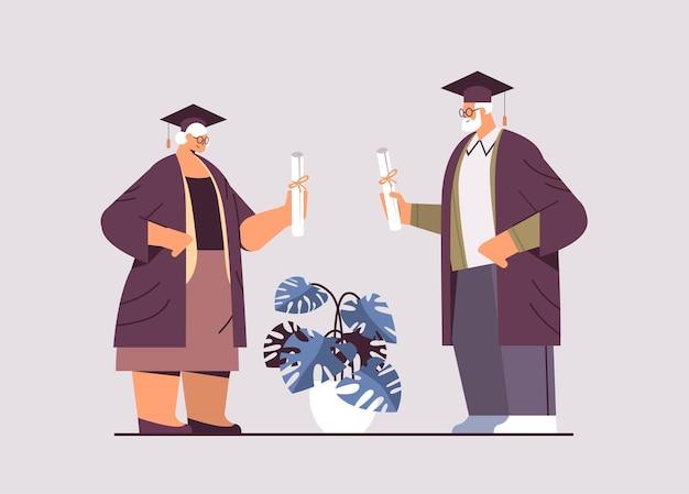 Senior afgestudeerde studenten leeftijd man vrouw afgestudeerden vieren academische diploma graad onderwijs universiteit certificaat concept horizontale volledige lengte vectorillustratie