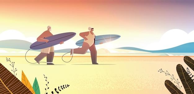 Senior afrikaans amerikaans paar, met, surfplanken, leeftijd, man, vrouw, surfers, vasthouden, surfplanken, zomer, vakantie, actief, ouderdom, concept, ondergaande zon, zeegezicht, achtergrond, horizontaal, volle lengte, vector, illustratie