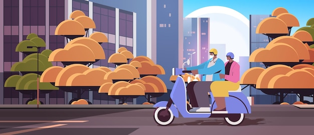 Senior afro-amerikaanse echtpaar in helmen rijden scooter grootouders reizen op bromfiets actieve ouderdom concept