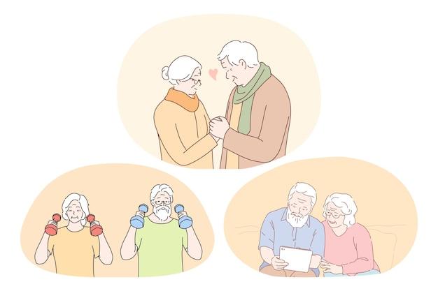 Senior bejaarde echtpaar gelukkig actief levensstijl concept. rijp oud stel dat fitnesstraining maakt, boek leest of fotoalbum bekijkt en samen geniet van tijd en liefde