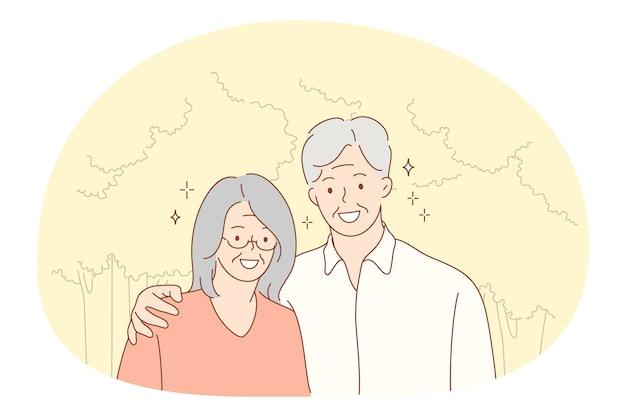 Senior bejaarde echtpaar gelukkig actief levensstijl concept.