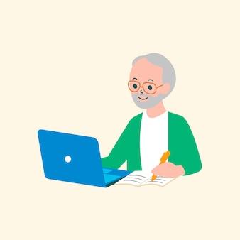 Senior e-learning vector teken platte afbeelding