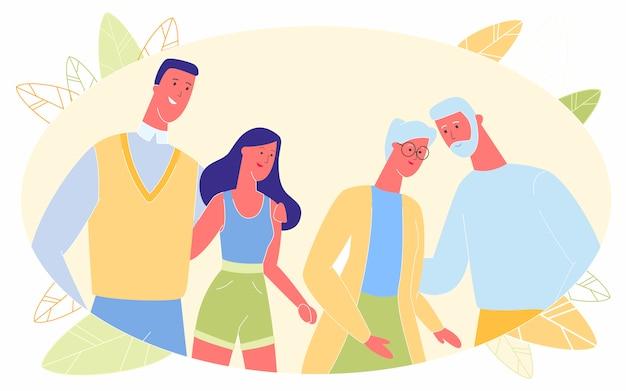 Senior en jonge gelukkige liefhebbende paren knuffelen