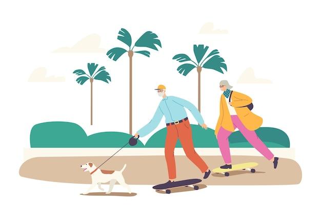 Senior familie tekens skateboard zomer activiteit. leeftijd man, vrouw en hond gezonde actieve levensstijl, vakantie recreatie, buiten skateboarden hobby ontspannen. cartoon mensen vectorillustratie