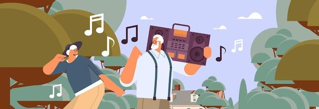 Senior gezin met bas knippen blaster recorder dansen en zingen grootouders plezier actieve ouderdom concept portret horizontale vectorillustratie