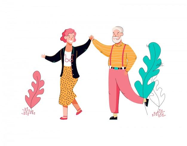 Senior grootmoeder en grootvader dansen cartoon afbeelding geïsoleerd.