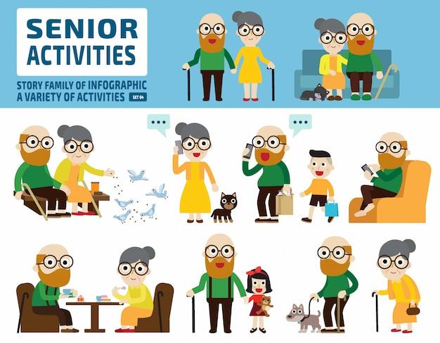 Senior koppel ingesteld. infographic elementen.