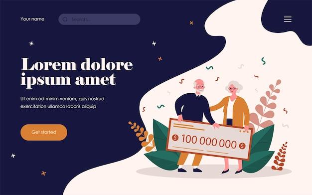 Senior koppel winnende loterij. oude man en vrouw met bankcheque platte vectorillustratie. geldprijs, pensioen, geluksconcept voor banner, websiteontwerp of landingswebpagina