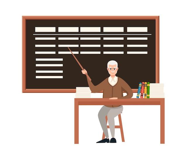 Senior leraar professor zit bij de tafel