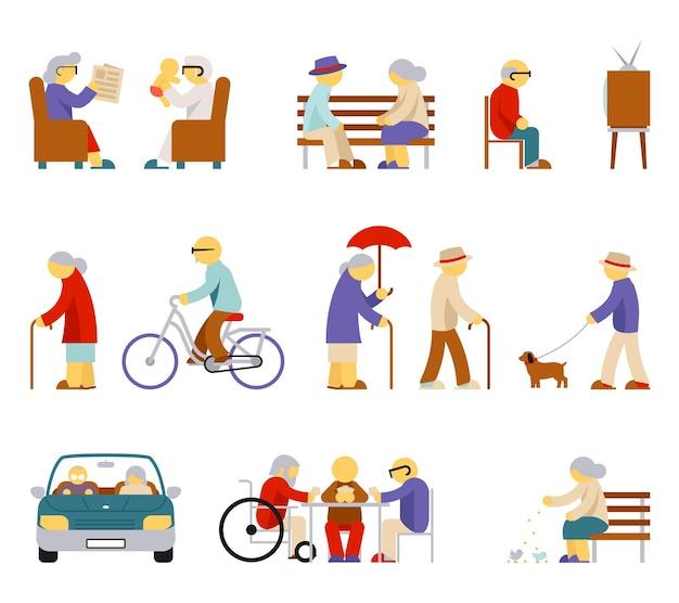 Senior levensstijl pictogrammen.
