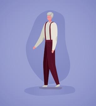 Senior man cartoon op paars achtergrondontwerp, grootvader en oud mannelijk persoonsthema
