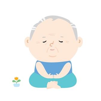 Senior man doet meditatie illustratie.