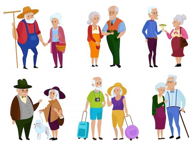 Senior man en vrouw activiteiten. grootouders dag. opa en oma. ouder echtpaar. cartoon afbeelding.