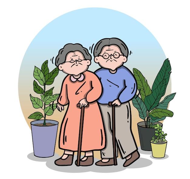 Senior man en vrouw, familie ouderen mensen blijven thuis bij geliefden en ouders.