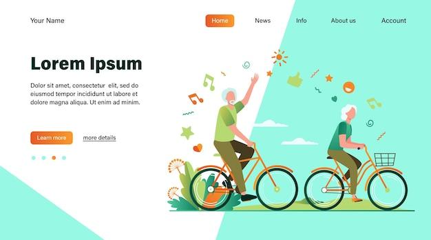 Senior man en vrouw fietsen in stadspark. happy cartoon oude familie paar genieten van buitenactiviteiten. vectorillustratie voor pensioen, actieve levensstijl, leeftijd, relatieconcept