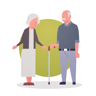 Senior man en vrouw paar grootmoeder en grootvader grijs haar pictogram volledige lengte