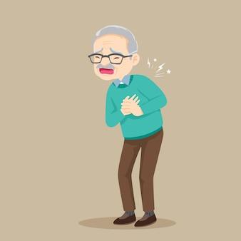 Senior man met een hartaanval