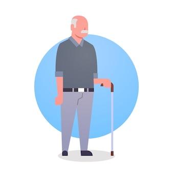 Senior man met stick grootvader grijs haar mannelijke pictogram volledige lengte