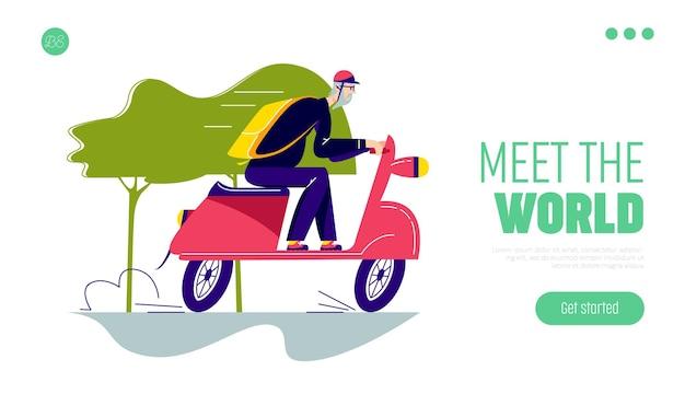 Senior man rijden scooter fiets reizen bij pensionering