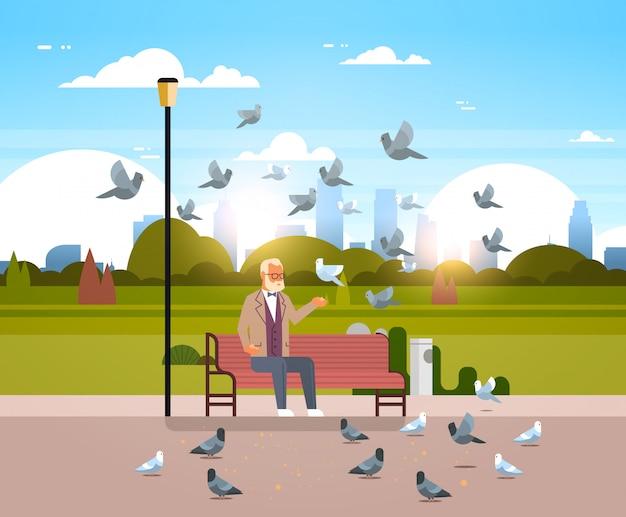 Senior man voedende zwerm duiven