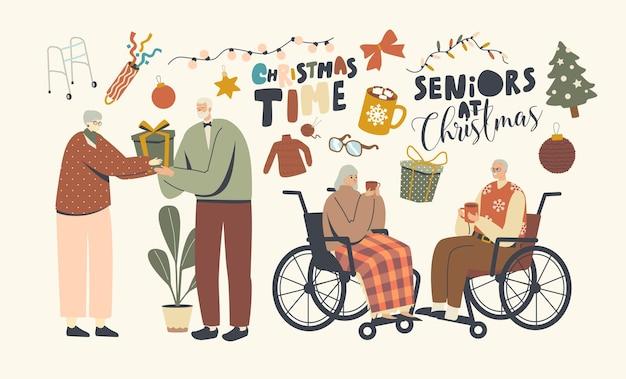 Senior mannelijke en vrouwelijke personages vieren kerstgroet en feliciteren elkaar. leeftijd mannen en vrouwen vakantieviering, winterseizoen, kersttijd. lineaire mensen vectorillustratie