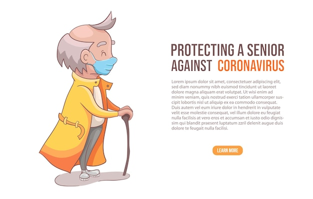 Senior mannetje of grootvader in medisch beschermend masker tegen coronavirus
