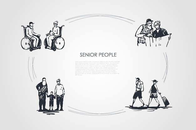 Senior mensen concept set illustratie