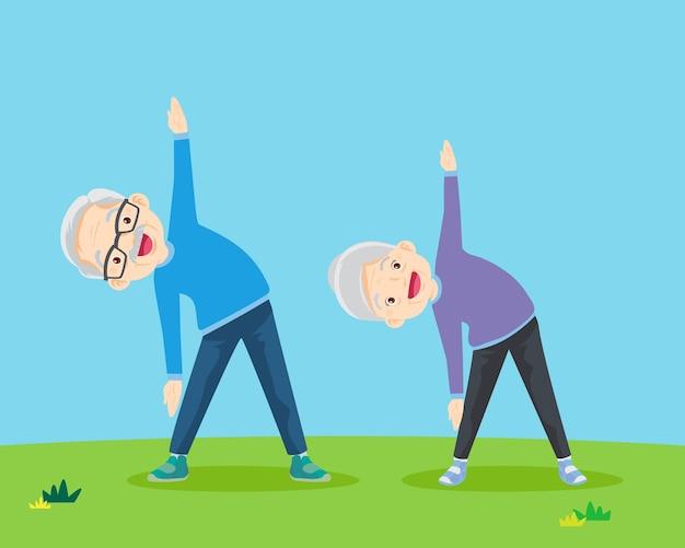 Senior mensen en gymnastiek bejaarde echtpaar grootouders doen oefeningen yoga