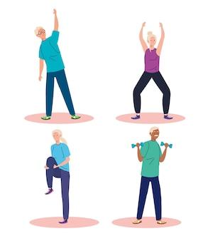 Senior mensen groep, doen verschillende activiteiten en hobby's.