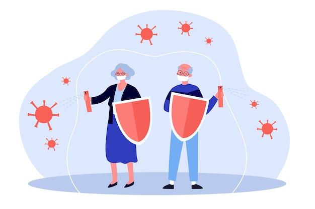 Senior mensen in maskers die beschermen tegen virussen