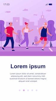 Senior mensen joggen in stadspark. oude mannen en vrouwen die marathonillustratie lopen. levensstijl en sportconcept voor banner, website of bestemmingswebpagina