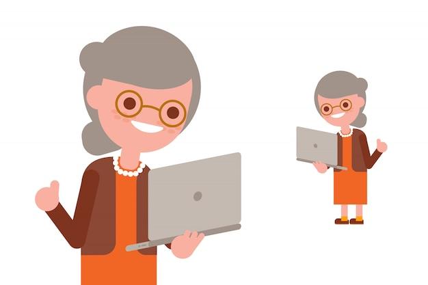 Senior mensen met behulp van laptop. gelukkige oma met geïsoleerde computer. vectorillustratie cartoon karakter.