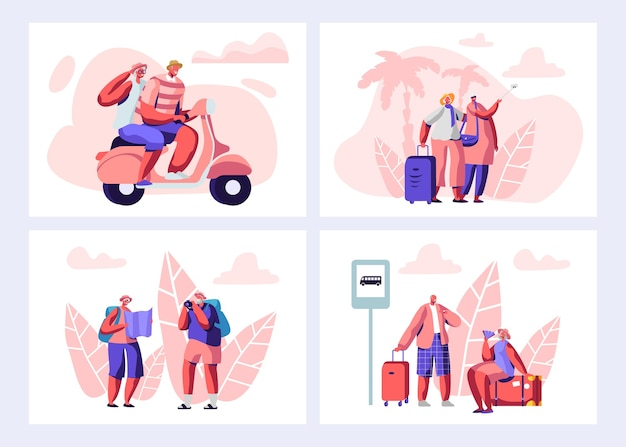 Senior mensen reizen illustratie set.