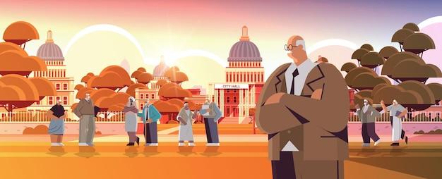 Senior mensen wandelen in het park volwassen mannen vrouwen groep tijd doorbrengen buiten ouderdom concept zonsondergang stadsgezicht achtergrond horizontale volledige lengte vectorillustratie